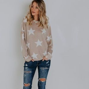 Vici Space Cadet Star Knit Top - Taupe - Medium